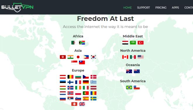 BulletVPN Accessible Countries
