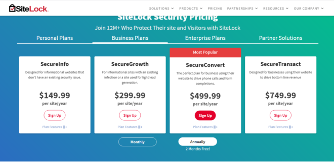 SiteLock Price And Plans