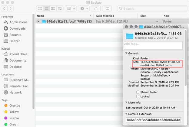 backup folder information menu