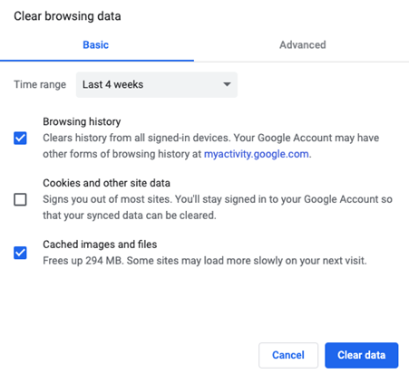 Clear browsing history window in chrome